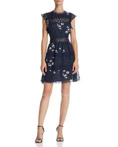 AQUA Flutter Sleeve Lace-Inset Dress - 100% Exclusive  | Bloomingdale's