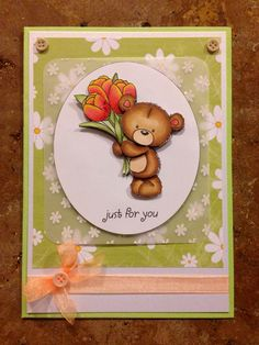 67 best teddy bear cards images on pinterest teddybear handmade cute teddy bear card with flowers birthday just for you mothers day m4hsunfo