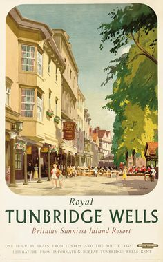 Royal Tunbridge Wells Poster Advertising British Railways Poster by Frank Sherwin. All posters are professionally printed, packaged, and shipped within 3 - 4 business days. Choose from multiple sizes and hundreds of frame and mat options. Posters Uk, Train Posters, Vintage Advertising Posters, Railway Posters, Vintage Travel Posters, Vintage Advertisements, Vintage Ads, British Railways, Party Vintage
