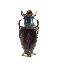 Antique Majolica Vase Double Handled Amphora Footed Vase
