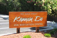 A sandblasted wood sign on recycled old growth wood for Kannon Do Zen Meditation Center in Mountain View, Ca.  Custom Signs 408-605-3435 / clamkinman@comcast.net
