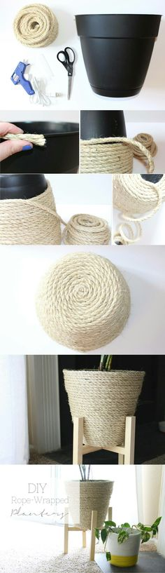 We have talked in the past about DIY decorations and rope crafts. It gives a rustic touch and fits perfectly in every room. So today we have some new unique DIY ideas with rope decoration. Diy Décoration, Easy Diy, Diy Bedroom Decor, Diy Home Decor, Rope Decor, Diys, Rope Crafts, Creation Deco, Ideias Diy
