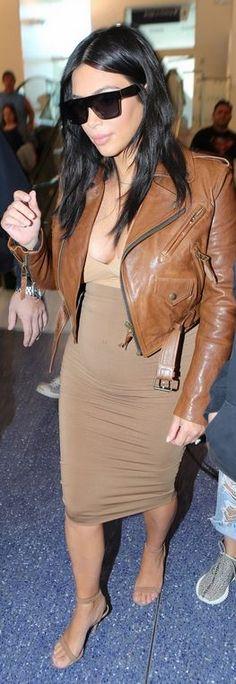Kim Kardashian: Sunglasses – Saint Laurent Jacket – Faith Connexion Shoes – Alexander Wang
