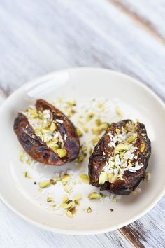 Coconut and Pistachio-Stuffed Dates