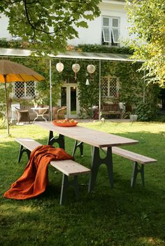 outdoor living in small spaces:  Ludwig table/bench | Lampert, Richard