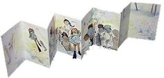 """After by Lois Morrison, 1996. Edition of 25. 8.5 x 5.5"""".  Canson me Tientes & Masa papers. Thai Soft Unryu paper over boards. Accordion book tells story of a gathering of broken dolls following a disaster. """"After it was all over they gathered & found the world was as beautiful as ever,"""" but they had been changed. In the book's middle 2 folds, dolls float above a drawing of an herbaceous border. Color-copied background landscapes, photographs of broken dolls, & Gocco printed missing doll…"""