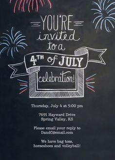 Chalkboard Design 4th of July Invite 5x7 Flat Card