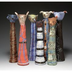 Pottery creatures by Linda Wynne