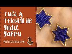 Tuğla Tekniği ile Yıldız Yapımı - YouTube Beaded Necklace Patterns, Seed Bead Patterns, Beading Patterns, Beaded Jewelry, Foot Bracelet, Beaded Brooch, Brick Stitch, Loom Beading, Beaded Embroidery