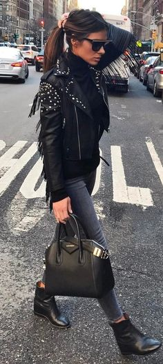 street+style+perfection+/+biker+jacket+++top+++jeans+++bag+++boots