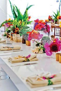 tropical and contemporary wedding centerpieces