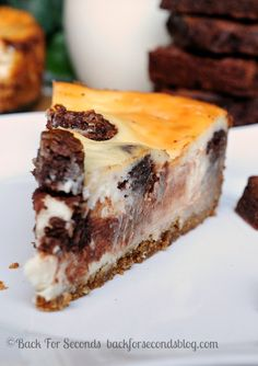 Brownie Stuffed Cheesecake with Peanut Butter Cookie Dough Crust!! http://backforsecondsblog.com #cheesecake #recipe #brownies #peanutbutter