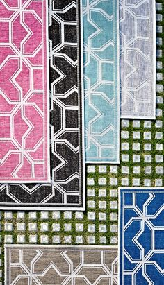 The interlinking geometric design of our Orvieto Outdoor Rug adds a layer of visual interest to your outdoor space. | Frontgate: Live Beautifully Outdoors
