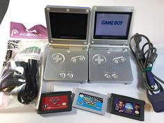 Lot of 2 Silver Nintendo Game Boy Advance SP 3 Games System Link 1 Needs Battery Nintendo Game Boy Advance, Gaming Computer, Cobalt Blue, Nintendo Consoles, Stocking Stuffers, Board Games, Video Games, Link, Silver