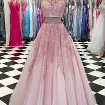 Pink two pieces tulle lace applique long prom dress, pink evening dress, a line prom - Thumbnail 2 Blush Prom Dress, Strapless Party Dress, Pink Prom Dresses, Prom Gowns, Two Piece Evening Dresses, Pink Evening Dress, Pink Two Piece, Applique Dress, Tulle Lace