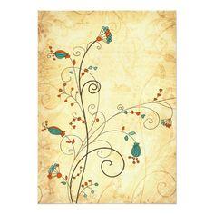 Cartão Casamento floral do vintage rústico da cerceta