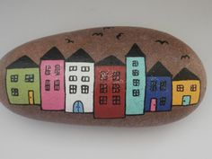 Painted rock Town von PlaceForYou auf Etsy
