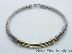 Massive 14k Gold Sterling Silver David Yurman Double Necklace #DavidYurman #Choker