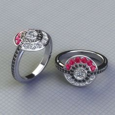 Pokeball  Engagement Ring with Real Gems by PaulMichaelDesign, $2500.00