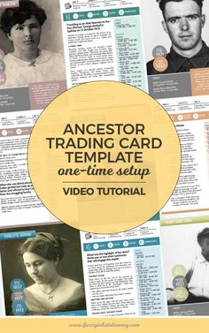 Fuzzy Ink Stationery Ancestor Trading Card Template One Time Setup Video Tutorial