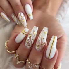 Important Things You Should Know About Acrylic Nails – NaiLovely White Acrylic Nails, Best Acrylic Nails, Summer Acrylic Nails, White Nail, Glam Nails, Beauty Nails, 3d Nails, Gold Stiletto Nails, Bling Nails