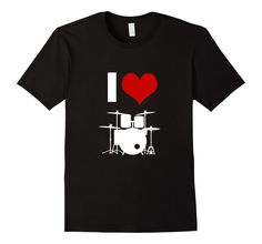 Amazon.com: I Heart Love Drums Silhouette High School College Band Rocker Musician T-Shirt: Clothing