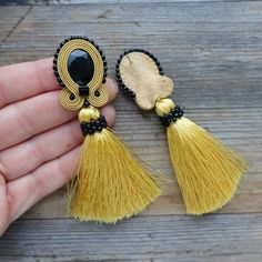 Mustard earrings with tassels soutache earrings, orecchini soutache, Boucles d'oreilles soutache Big Gold Hoop Earrings, Bridal Earrings, Crystal Earrings, Crystal Jewelry, Handmade Beaded Jewelry, Handmade Necklaces, Jewelry For Her, Fine Jewelry, Jewellery