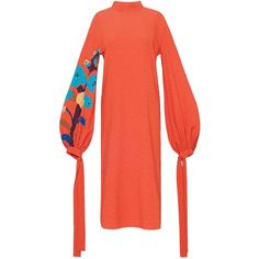 Orange Dress With Applique Sleeves found on Polyvore featuring women's fashion, dresses, red applique dress, long-sleeve midi dresses, mid calf dresses, red midi dress and tie dress