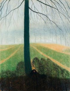 Léon Spilliaert Belgian, 1881 - 1946 Woman at the foot of the tree (Femme au pied de l'arbre), N/D
