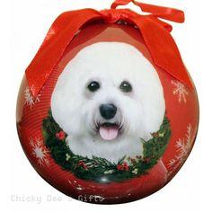 E & S Pets  Bichon Frise  Shatter Proof Christmas Ball Ornament