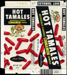Just Born - Hot Tamales - candy box - late through 1985 Retro Candy, Vintage Candy, Vintage Toys, My Childhood Memories, Sweet Memories, Old School Candy, Nostalgic Candy, Old Candy, Mike And Ike
