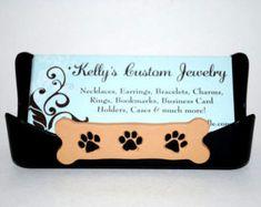 Business Card Holder. Dog Bone. Paw Prints. Pet Business.