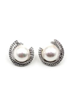 Metal Round pearl Crystal Earrings