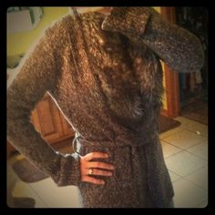 ❤️SALE❤️Great sweater Brown and cream sweater with removable fur trim. Has a belt u can use to keep closed or u can take it off. Express Sweaters