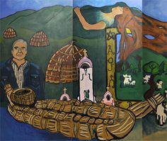 "A history-themed mural designed by kids from San Rafael. This section shows a contemporary Miwok elder and historical Miwok artifacts. Plus the ""Sleeping Lady of Mt. Tam""...not a Miwok legend, but a local one nonetheless!"