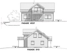 Fasadetegning Martine iec-hus Diagram, Floor Plans, Floor Plan Drawing, House Floor Plans
