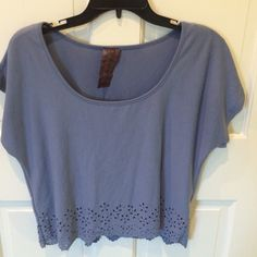SEE SALEEyelet Blue Top short sleeve shirt from Nordstrom BP, very comfy, cute eyelet trim around the bottom, fits loosely Tops