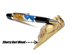 Wood Acrylic Pen, Swirled Blue White, Turned Ballpoint Pen, Handcrafted, Cherry Burl Wood Pen, Rhodium Hardware, Mothersday Gift, Office Pen by PennTexPens on Etsy