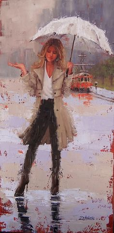Rain Painting - Still Raining by Laura Lee Zanghetti