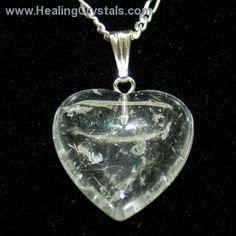 Crystal Pendants - Clear Quartz Heart Pendant- Clear Quartz - Healing Crystals