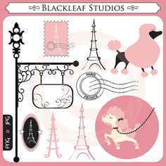 Paris Clipart Set Digital Download Images, Scrapbook, Graphics, Crafters - Personal and Commercial Use Clipart