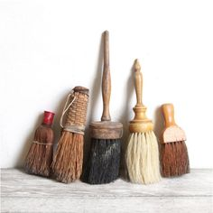 Old brooms and brushes fascinate me Brooms And Brushes, Design Oriental, Whisk Broom, Arte Popular, Mark Making, Wabi Sabi, Paint Brushes, Art Studios, At Least