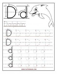 Free Printable letter D tracing worksheets for preschool. Free learning to write worksheets for preschoolers. Letter D for Dolphin worksheets: