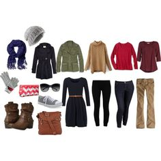 What to pack for when you go on a trip in the winter or cooler weather. Lots of options to mix and match. Casual outfits, turtle neck and long sleeve tops to layer with. Hooded jacket, boots. Long sleeve knit dress, tights, coat to go out.