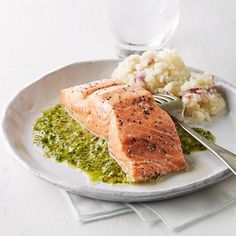 Chimichurri--a bright, herby sauce served across Argentina--is the perfect healthy sauce for an easy salmon dinner. This recipe uses parsley but feel free to try your favorite combination of herbs, such as basil, mint or cilantro. Serve with mashed potatoes and roasted broccoli.