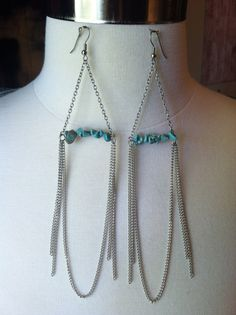 Silver Chain and Turquoise Earrings by DistractedRenegade on Etsy, $21.00