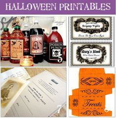 Literally TONS of halloween printables!  From drink labels, to invites, to signs, & treat toppers -- this is a fantastic source!  And another bonus: they have both fun, 'kidsy' types of printables, and more chic creepy ones.