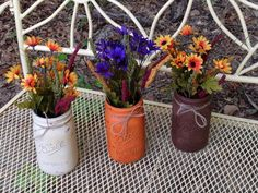 Fall Distressed Hand Painted Country Rustic Mason Jar Vase Floral Twine Orange Brown Cream (Set of T Mason Jar Flower Arrangements, Mason Jar Flowers, Flower Pots, Distressed Mason Jars, Rustic Mason Jars, Mason Jar Vases, Mason Jar Crafts, Vase Centerpieces, Fall Wreaths