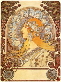 Zodiac  Artist: Alphonse Mucha  Completion Date: 1896  Style: Art Nouveau (Modern)