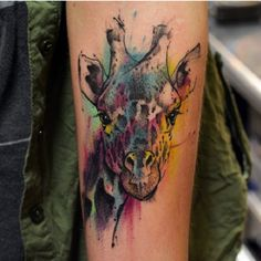 Giraffe watercolor tattoo by BryanInk of Sudaka Tattoo